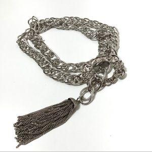 Silver Tone Chain Belt Tassel Filigree Buckle